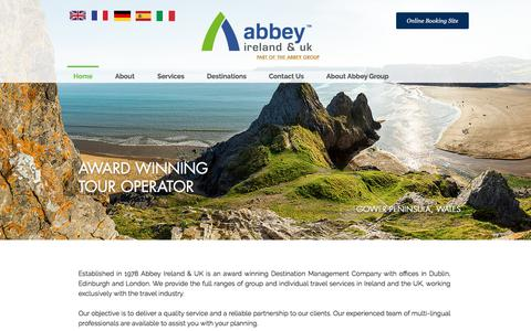 Screenshot of Home Page abbey.ie - Abbey Ireland & UK B2B Travel Specialists - captured Oct. 7, 2017