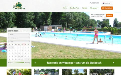 Screenshot of Home Page europarcs.nl - EuroParcs - captured July 24, 2015