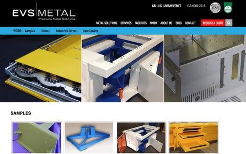 Screenshot of Case Studies Page evsmetal.com - Sheet Metal Fabrication Work Samples | Clients | Industries | EVS Metal - captured July 15, 2018