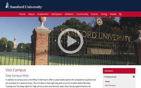 Screenshot of Signup Page samford.edu - Come Visit Samford University - captured Feb. 17, 2018