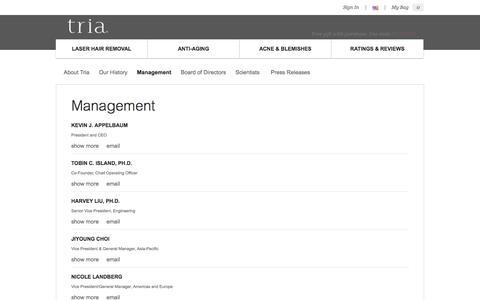 Screenshot of Team Page triabeauty.com - Our Management   Tria Beauty - captured Sept. 17, 2014