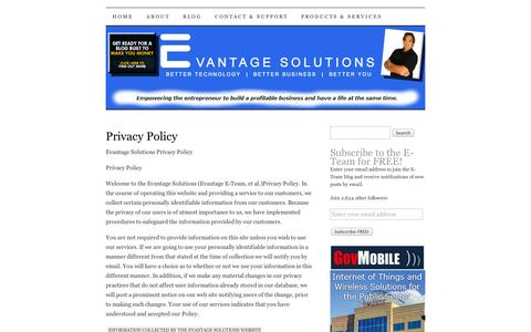Screenshot of Privacy Page wordpress.com - Privacy Policy | E-Team - Home for Entrepreneurs and Small Business - captured Sept. 12, 2014