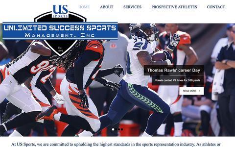 Screenshot of Home Page ussportsmanagement.com - US Sports | Sports Management | Charlotte - captured Jan. 12, 2016