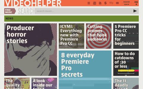Screenshot of Press Page videohelper.com - Videohelper Production Music Library: News - captured Feb. 25, 2016