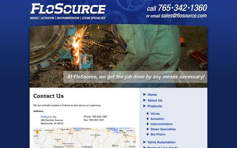 Screenshot of Contact Page flosource.com - Contact Us   FloSource - captured Sept. 30, 2014