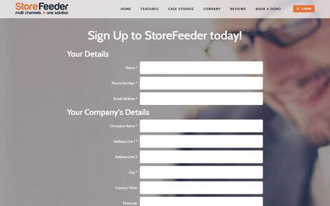 Screenshot of Signup Page storefeeder.com - Sign up for Multi-channel Retailing Software | StoreFeeder - captured Oct. 31, 2017