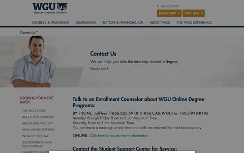 Screenshot of Contact Page wgu.edu - Contact Us | Online University Degree Programs | WGU | Online Degree - captured June 3, 2017