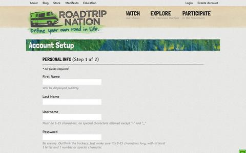 Screenshot of Signup Page roadtripnation.com - Create My Account | Roadtrip Nation - captured Sept. 24, 2014
