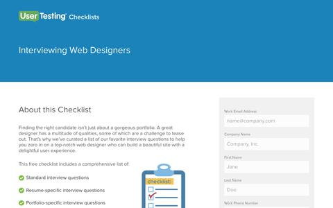 Screenshot of Landing Page usertesting.com - Interviewing Web Designers Checklist | UserTesting - captured April 21, 2018