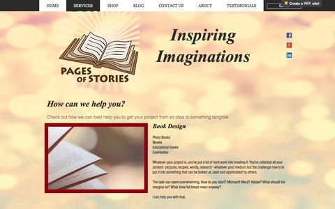 Screenshot of Services Page pagesofstories.com - Pages Of Stories | SERVICES - captured May 13, 2017