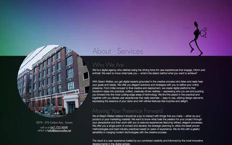 Screenshot of About Page steamwalker.net - Home - About Us - About - Steam Walker - captured Oct. 7, 2014