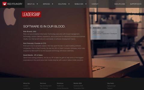 Screenshot of Team Page redfoundry.com - Leadership   Red Foundry - captured Sept. 17, 2014