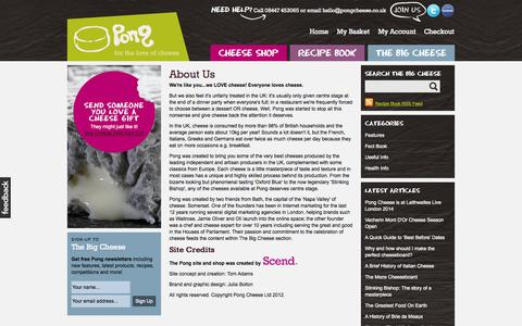 Screenshot of About Page pongcheese.co.uk - About Us - Pong Cheese - captured Sept. 22, 2014