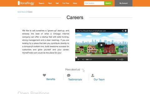 Screenshot of Jobs Page homefinder.com - Careers | About Us | HomeFinder.com - captured Sept. 18, 2014