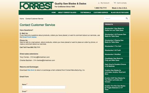 Screenshot of Support Page forrestblades.com - Contact Customer Service - - captured April 9, 2017