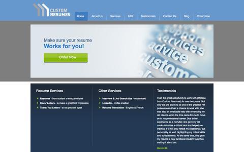 Screenshot of Home Page custom-resumes.com - Custom Resumes - Custom Resumes - Melissa Berube - captured Sept. 30, 2014