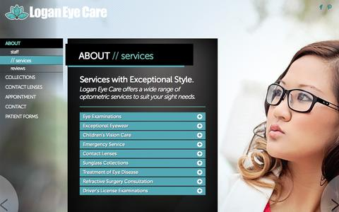 Screenshot of Services Page loganeyecare.com - Services Provided at Logan Eye Care - captured Nov. 4, 2014
