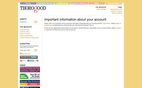 Screenshot of Menu Page thorogoodpublishing.co.uk - Account login - captured Oct. 7, 2014