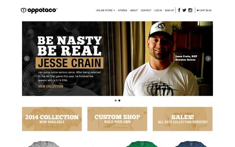 Screenshot of Home Page oppotaco.com - OPPOTACO -, Sports & Lifestyle Apparel - captured Oct. 8, 2014