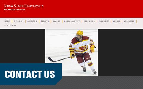 Screenshot of Contact Page iastate.edu - Contact Us - Cyclone Hockey - captured June 29, 2018