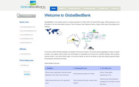 Screenshot of Home Page globalbedbank.com - Global BedBank Home - captured Oct. 1, 2014