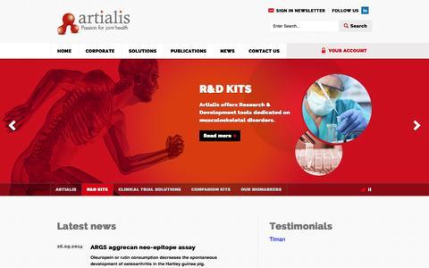 Screenshot of Home Page artialis.com - OA & RA biomarker | Artialis - captured Sept. 30, 2014