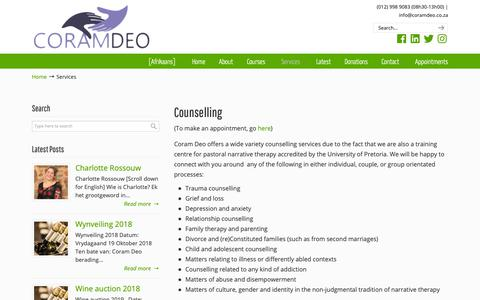 Screenshot of Services Page coramdeo.co.za - Services | Coram Deo Pastoral Counselling and Narrative Therapy Training - captured Oct. 24, 2018