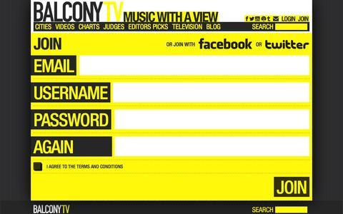 Screenshot of Signup Page balconytv.com - BalconyTV - captured Sept. 13, 2014