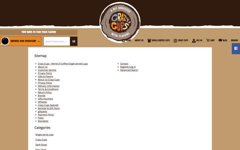 Screenshot of Site Map Page crazycups.com - Sitemap - captured Sept. 30, 2014