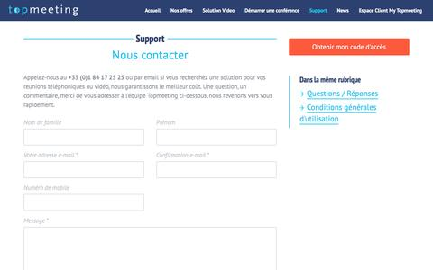 Screenshot of Support Page topmeeting.fr - Nous contacter - captured Dec. 11, 2015