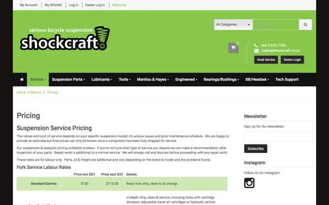 Screenshot of Pricing Page shockcraft.co.nz - Service Pricing | Shockcraft - captured Sept. 20, 2018