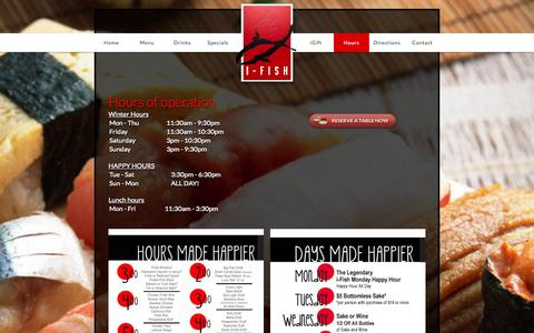 Screenshot of Hours Page ifishdenver.com - iFish Japanese Grill and Sushi Bar in Denver, CO - captured Oct. 27, 2014
