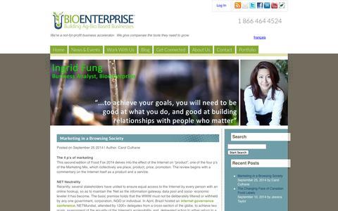 Screenshot of Blog bioenterprise.ca - Bioenterprise - Blog : All Entries - captured Oct. 5, 2014