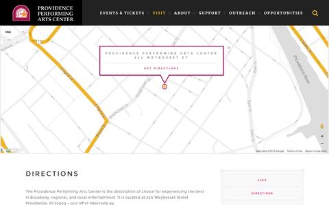 Screenshot of Maps & Directions Page ppacri.org - Directions | Providence Performing Arts Center - captured Nov. 5, 2016