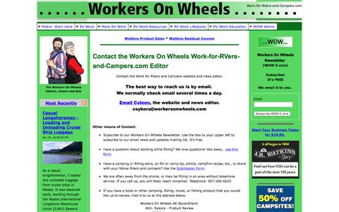 Screenshot of Contact Page work-for-rvers-and-campers.com - Contact the Work For RVers And Campers Website and News Editor - captured Nov. 26, 2016