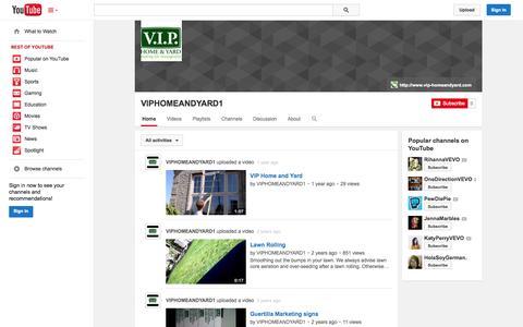 Screenshot of YouTube Page youtube.com - VIPHOMEANDYARD1  - YouTube - captured Nov. 5, 2014
