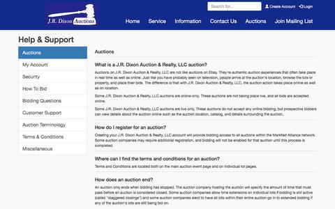 Screenshot of Support Page jrdixonauctions.com - Help & Support | J.R. Dixon Auction & Realty, LLC - captured July 26, 2018