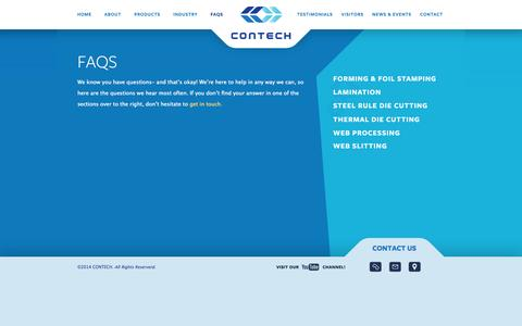Screenshot of FAQ Page contechusa.com - Contech USA Frequently Asked Questions » Contech - captured Sept. 30, 2014