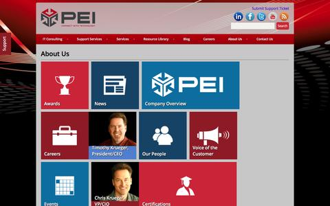 Screenshot of About Page pei.com - About Us - PEI - captured Dec. 5, 2015