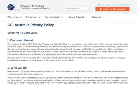 Screenshot of Privacy Page gs1au.org - GS1 Australia Privacy Policy - GS1 Australia - captured Dec. 13, 2018