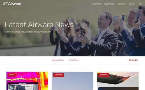 Screenshot of Press Page airware.com - News - Airware - captured Oct. 27, 2017
