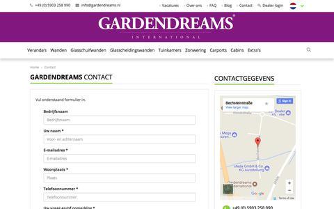 Screenshot of Contact Page gardendreams.nl - Neem contact op | Gardendreams - captured July 17, 2017