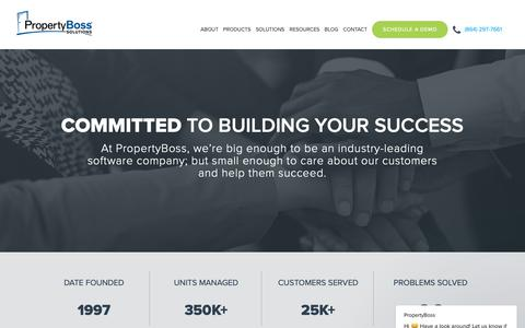 Screenshot of About Page propertyboss.com - Learn About PropertyBoss - Property Management Software Company - captured Sept. 29, 2018