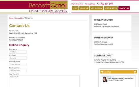 Screenshot of Signup Page bcglaw.com.au - Contact Us | Brisbane Solicitors & Legal Advice - captured Feb. 7, 2016