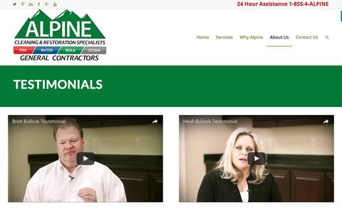 Screenshot of Testimonials Page alpinecleaning.com - Testimonials - Alpine Cleaning & Restoration - captured Nov. 20, 2016