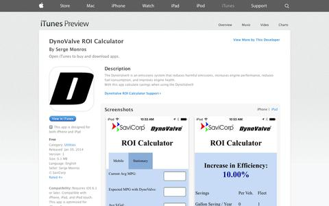 Screenshot of iOS App Page apple.com - DynoValve ROI Calculator on the App Store on iTunes - captured Oct. 26, 2014