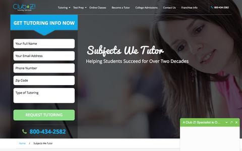 Screenshot of Site Map Page clubztutoring.com - Subjects We Tutor, In Home & Online Tutors - Club Z! Tutoring - captured April 12, 2018