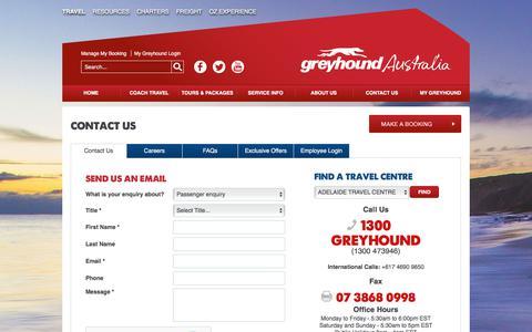 Screenshot of Contact Page greyhound.com.au - Contact Us | Greyhound Australia - captured June 26, 2017
