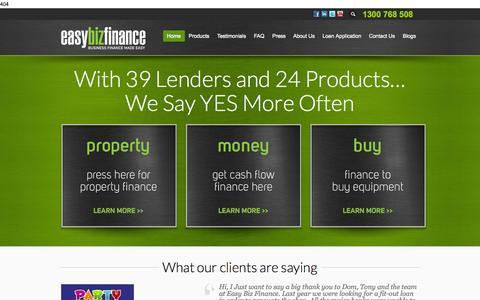Screenshot of Home Page easybizfinance.com - Business Finance Made Easy - EasyBiz Finance - captured Oct. 1, 2014