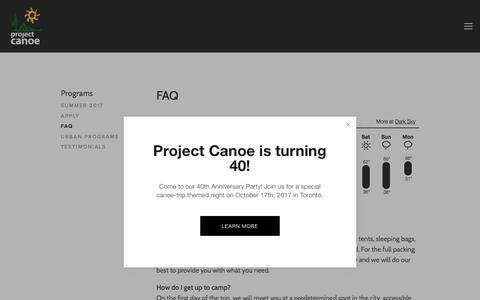 Screenshot of FAQ Page canoe.org - FAQ — Project Canoe - captured Aug. 29, 2017